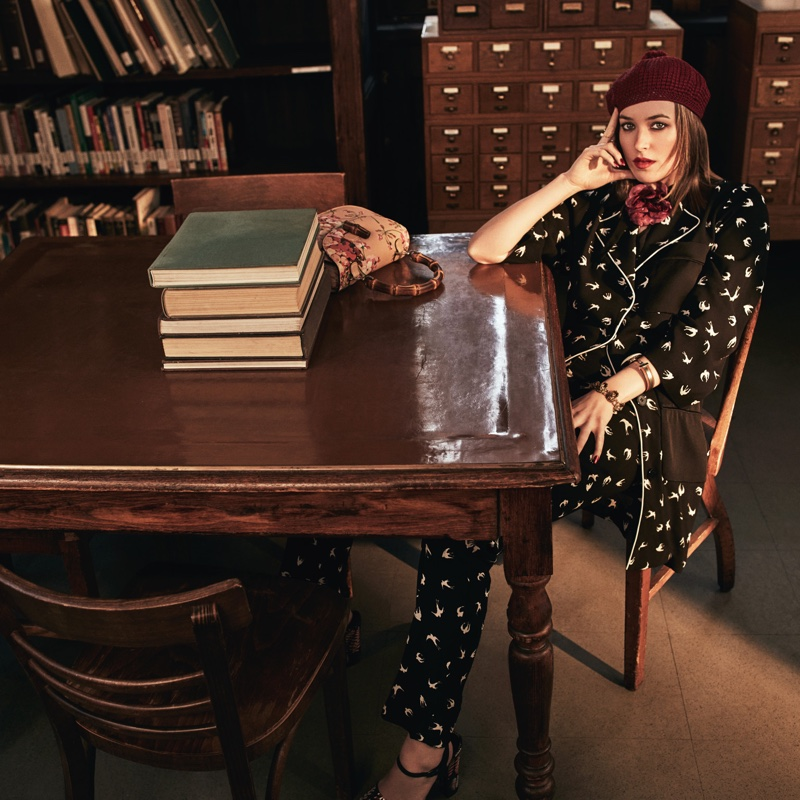 Dakota Johnson wears retro inspired looks for the fashion shoot
