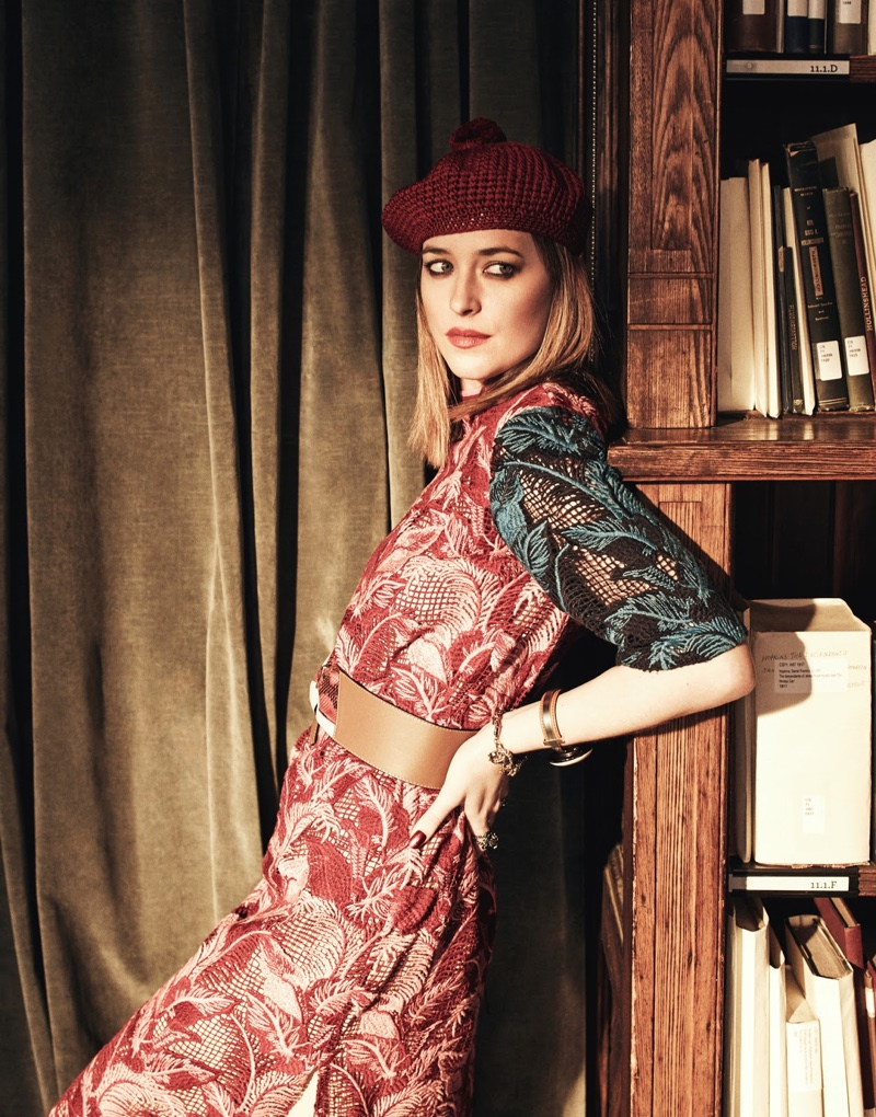 Dakota Johnson wears House of Holland printed dress with beret by Gucci