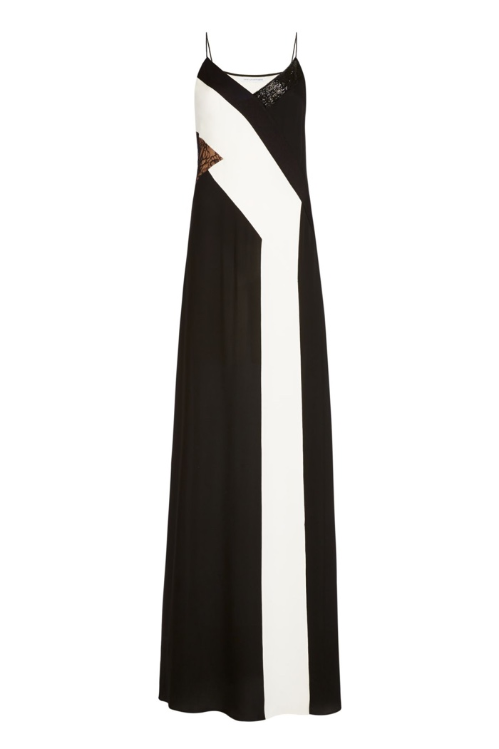 Diane Von Furstenberg Embellished Silk & Lace Slip Maxi Dress