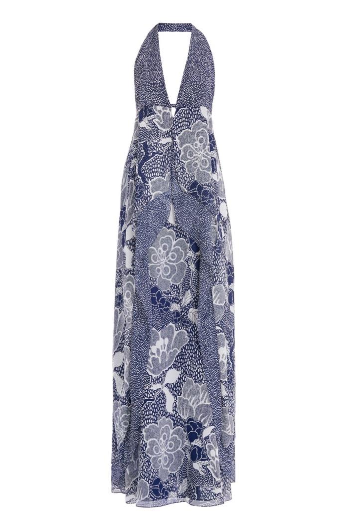 Diane Von Furstenberg Fantasia Silk Halter Maxi Dress