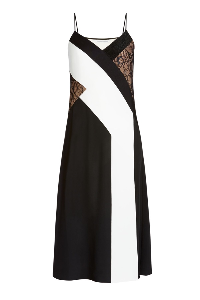 Diane Von Furstenberg Embellished Silk & Lace Slip Dress
