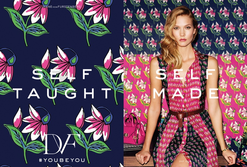 Karlie Kloss wears a printed dress from DVF's spring 2016 collection