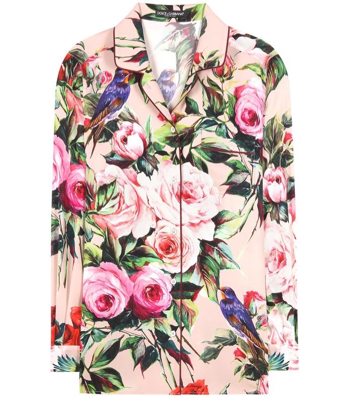 Dolce & Gabbana Floral Print Silk Blouse