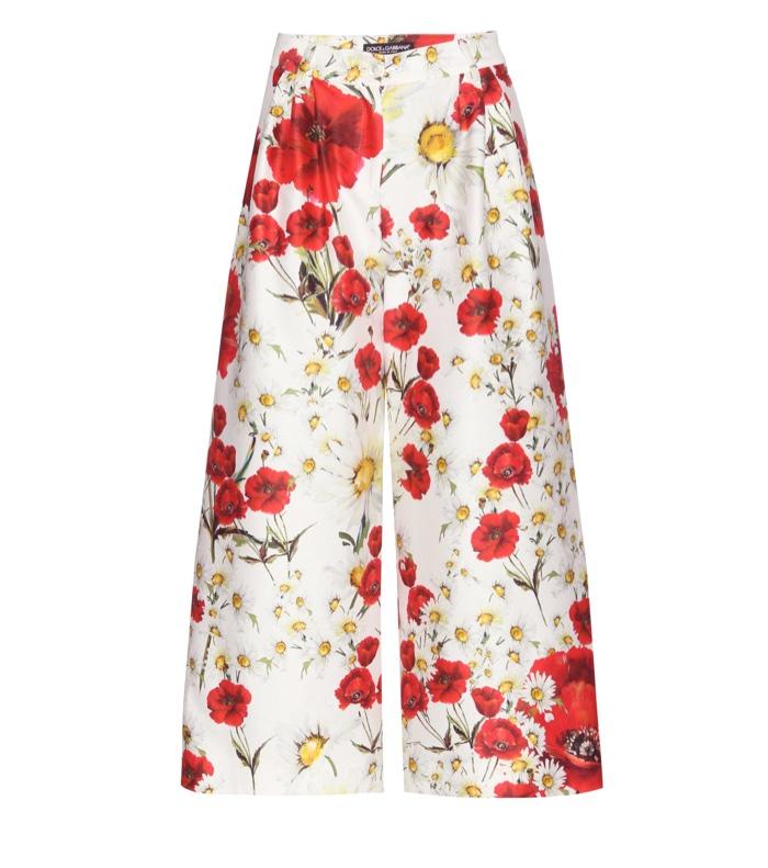 Dolce & Gabbana Floral Print Silk & Cotton Culottes
