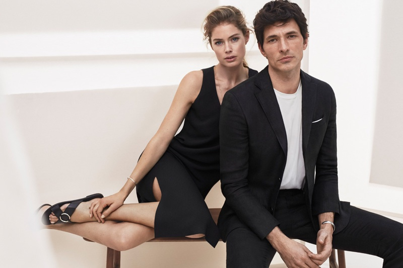 The model pairing match in black looks from Massimo Dutti's New York collection