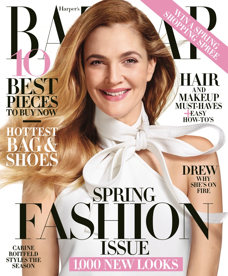 Drew Barrymore on Harper's Bazaar March 2016 cover