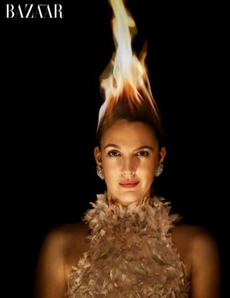 Drew Barrymore poses on fire for Harper's Bazaar US' March issue