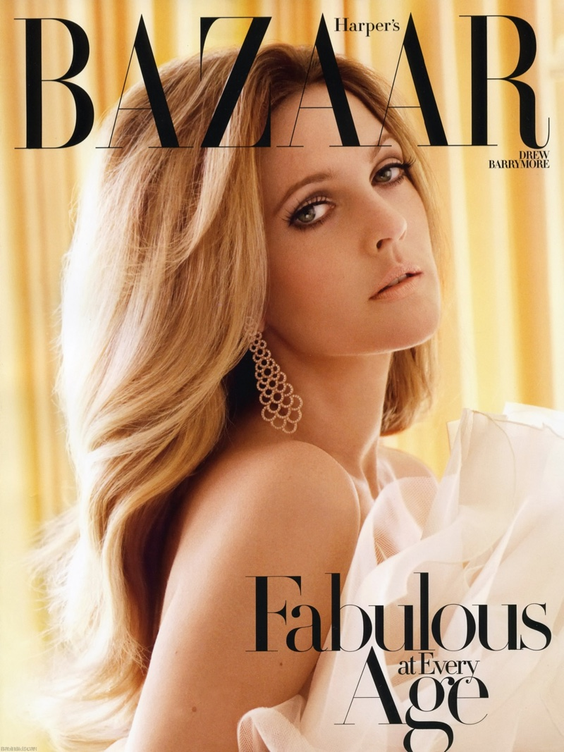 Drew Barrymore stars on Harper's Bazaar October 2010 cover