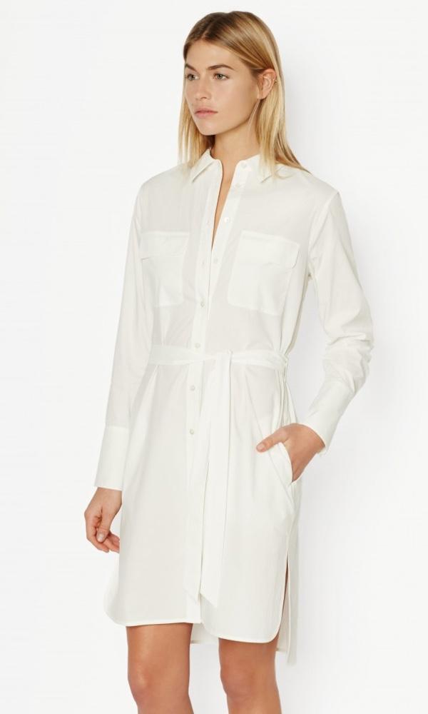 Equipment Short Cotton Dress in White