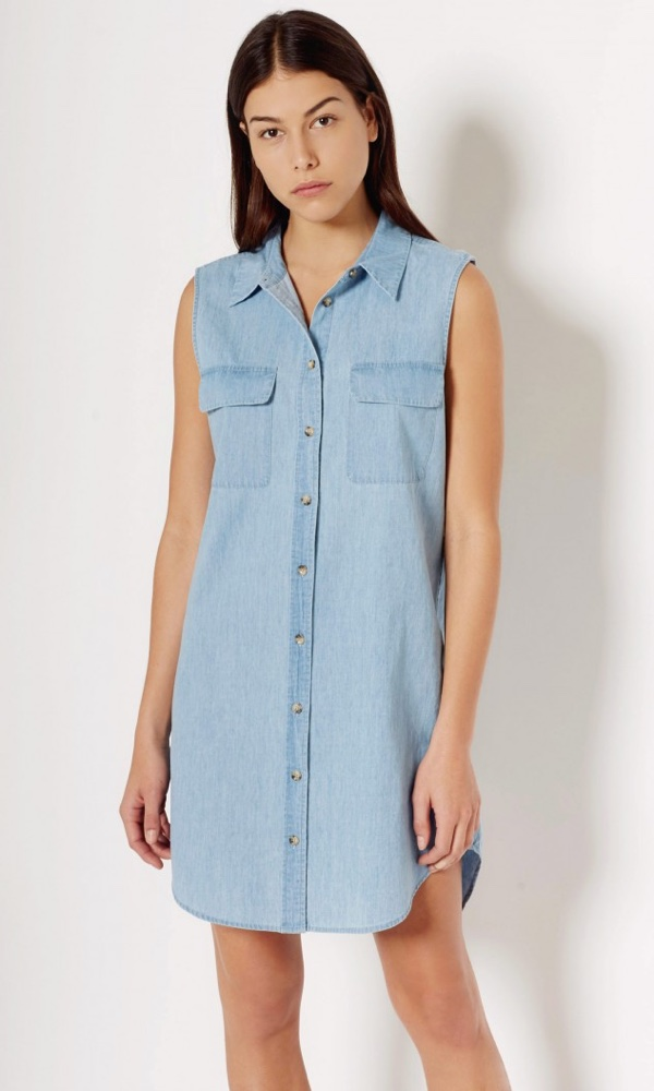 Equipment Sleeveless Slim Signature Cotton Dress