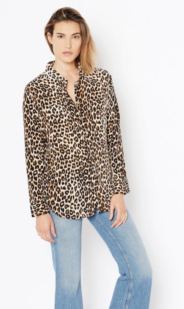 Equipment Slim Signature Silk Shirt in Leopard Print