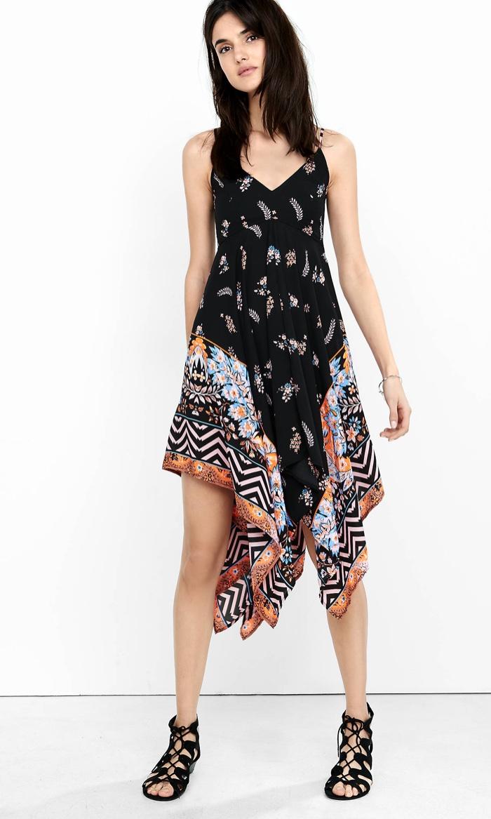 The dress express -  Strappy Dress Express Black Floral Print Handkerchief Hem Sundress
