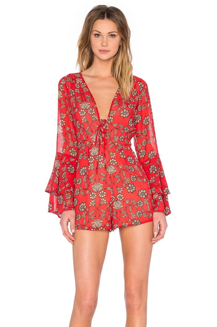 For Love & Lemons Pia Floral Print Romper