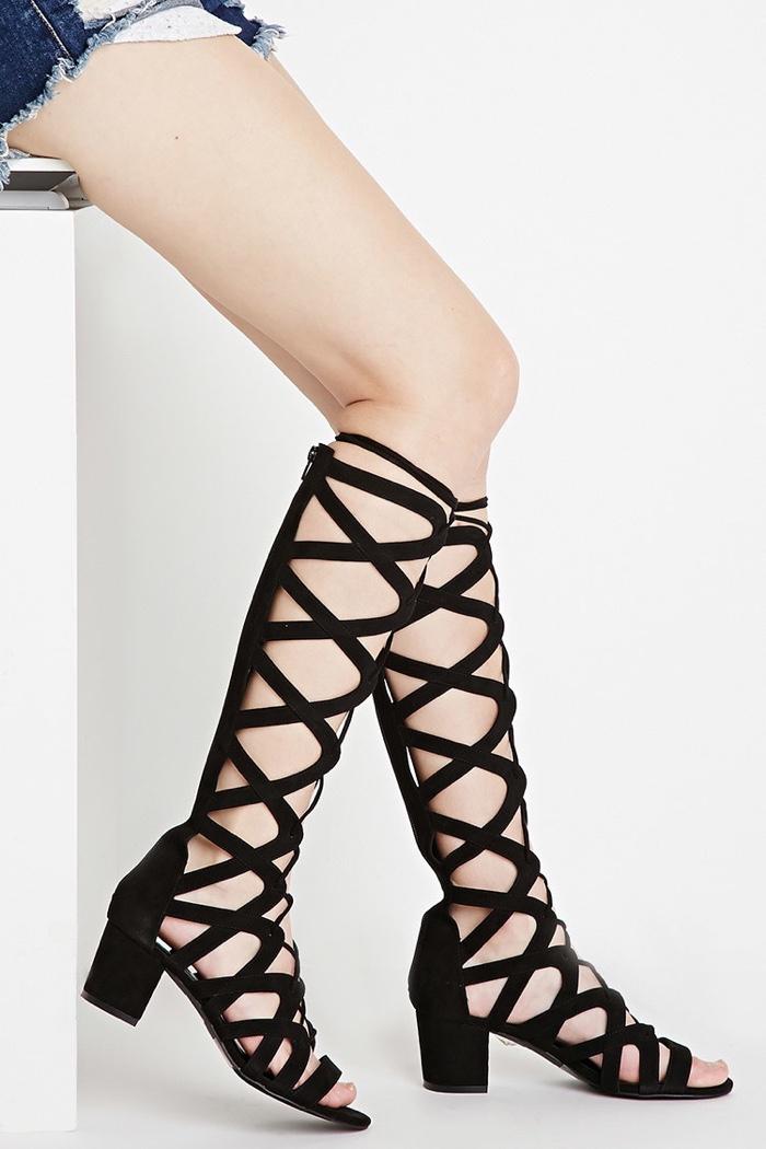 4eb37cc23023 Express Midi Gladiator Sandal · Forever 21 Black Lace-Up Heeled Sandals