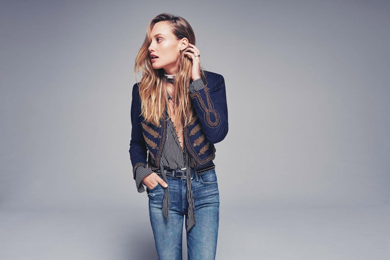 Free People Embellished Band Jacket, Free People Striped Modern Muse Blouse, Mother Hustler Frayed Ankle Jeans