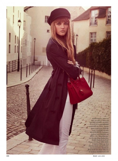Vlada poses in a Burberry London trench coat