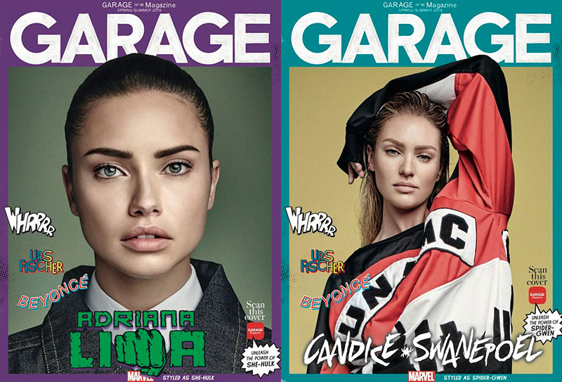 Adriana Lima, Candice Swanepoel Channel Super Heroes for Garage Covers