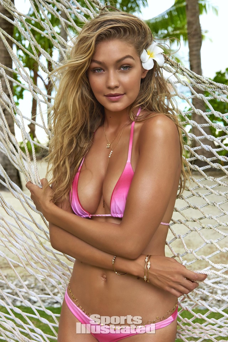 Gigi Hadid poses in pink tie-dye bikini top for Sports Illustrated 2016 Swimsuit Issue