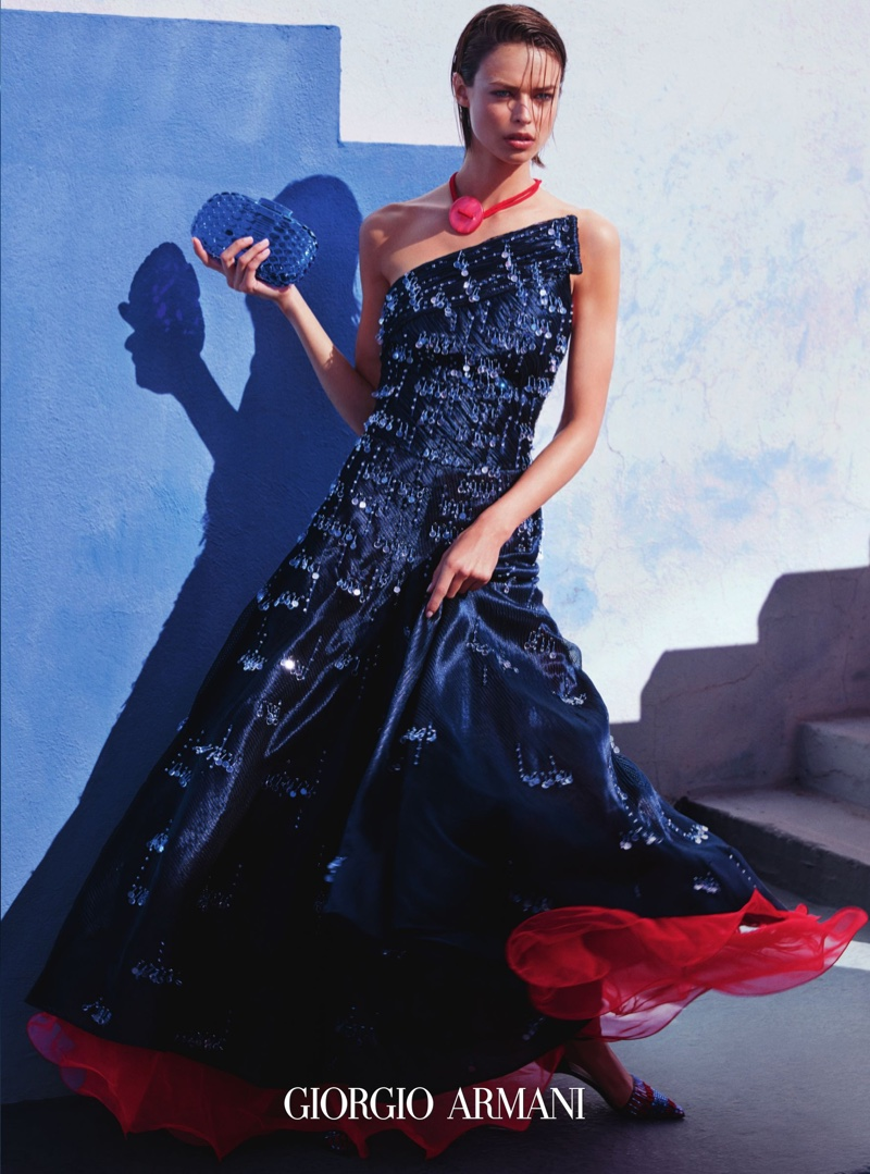 639abf93af3d Birgit Kos models a sparkling gown from Giorgio Armani s spring 2016  collection