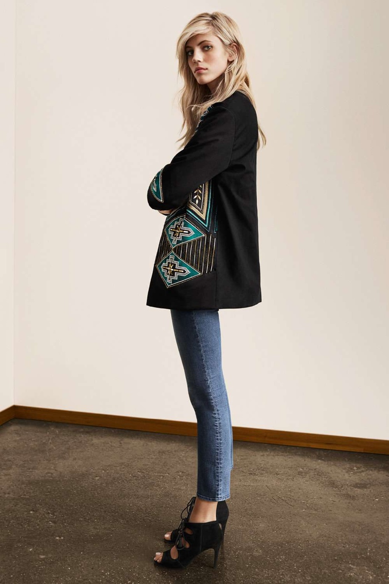 H&M Embroidered Jacket, Ankle-length Slim-fit Pants and Suede Sandals with Lacing