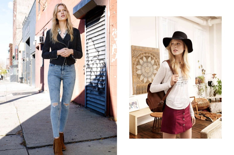 (Left) H&M Biker Jacket, Viscose Shirt, Slim High Ankle Trashed Jeans and Fringed Ankle Boots (Right) H&M Wool Hat, Short Jersey Top, A-Line Skirt and Backpack