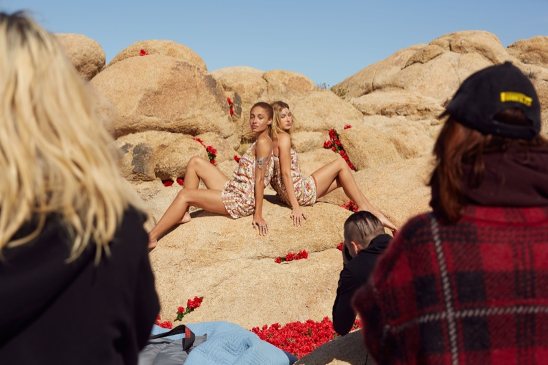 Adwoa Aboah and Hailey Baldwin on set of the H&M x Coachella 2016 campaign