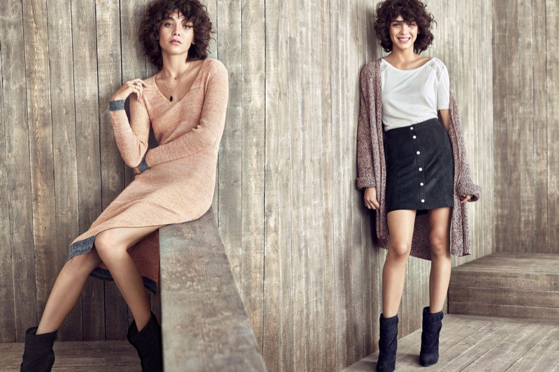 (Left) H&M Rib-Knit Dress and Suede Wedge-Heeled Ankle Boots (Right) H&M Cotton-blend Cardigan, Jersey Top with Lace, Imitation Suede Skirt and Suede Wedge-Heeled Ankle Boots