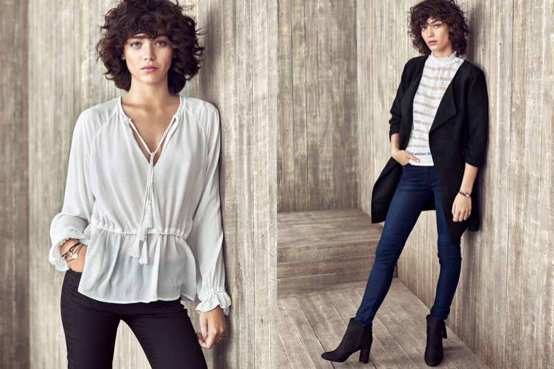 (Left) H&M Crinkled Blouse and Slim-Fit Bootcut Pants (Right) Imitation Suede Coat, Slim-Fit Pants and Boots with Tassels