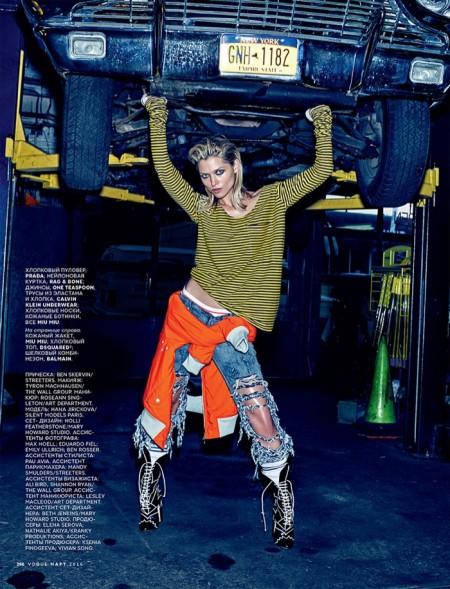 Hana Jirickova Borrows From the Boys in Vogue Russia Editorial