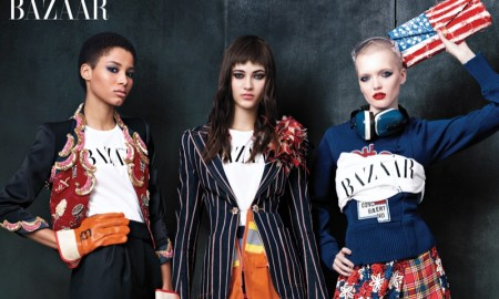 Lineisy Montero, Greta Varlesse and Ruth Bell pose in Marc Jacobs looks