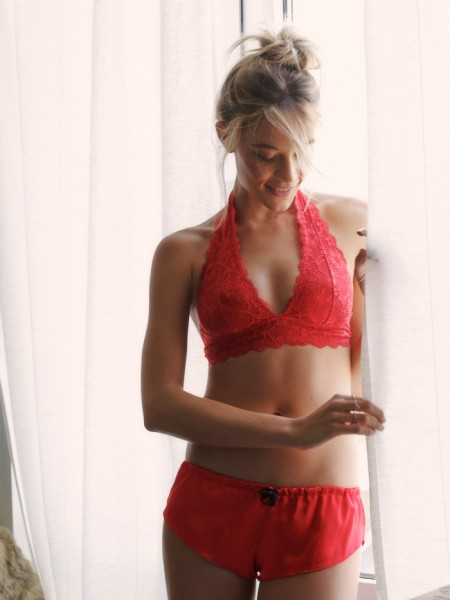 Intimately Free People Galloon Red Lace Bra Halter Top