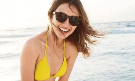 J.Crew Women's String Bikini Top, String Hipster Bikini Bottom and Sam Sunglasses
