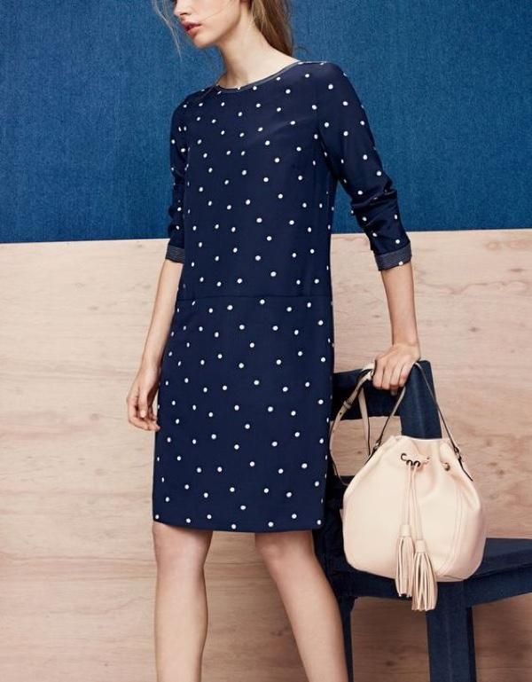 J.Crew Women's Silk Shift Dress in Polka Dot and Tassel-Tie Bucket Bag in Smooth Leather