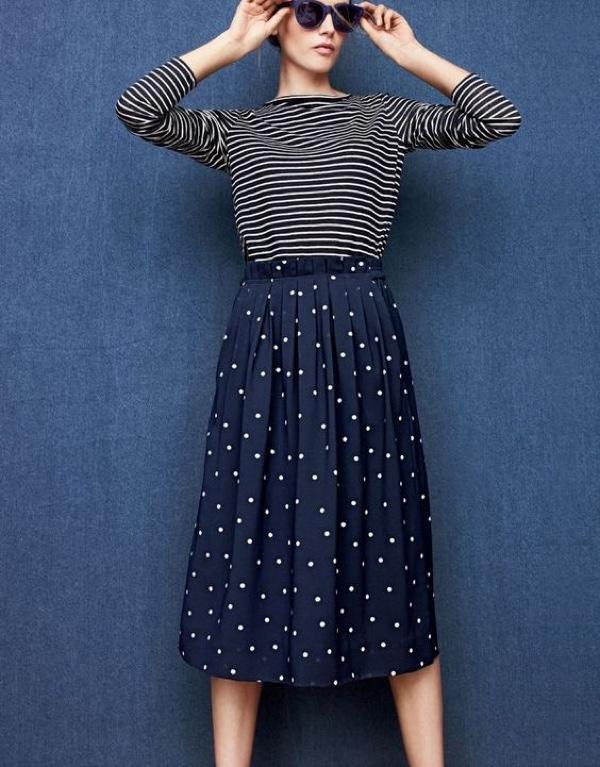 J.Crew Women's Linen Long-Sleeve Striped T-Shirt, Pleated Midi Skirt in Polka Dot and Sam Sunglasses