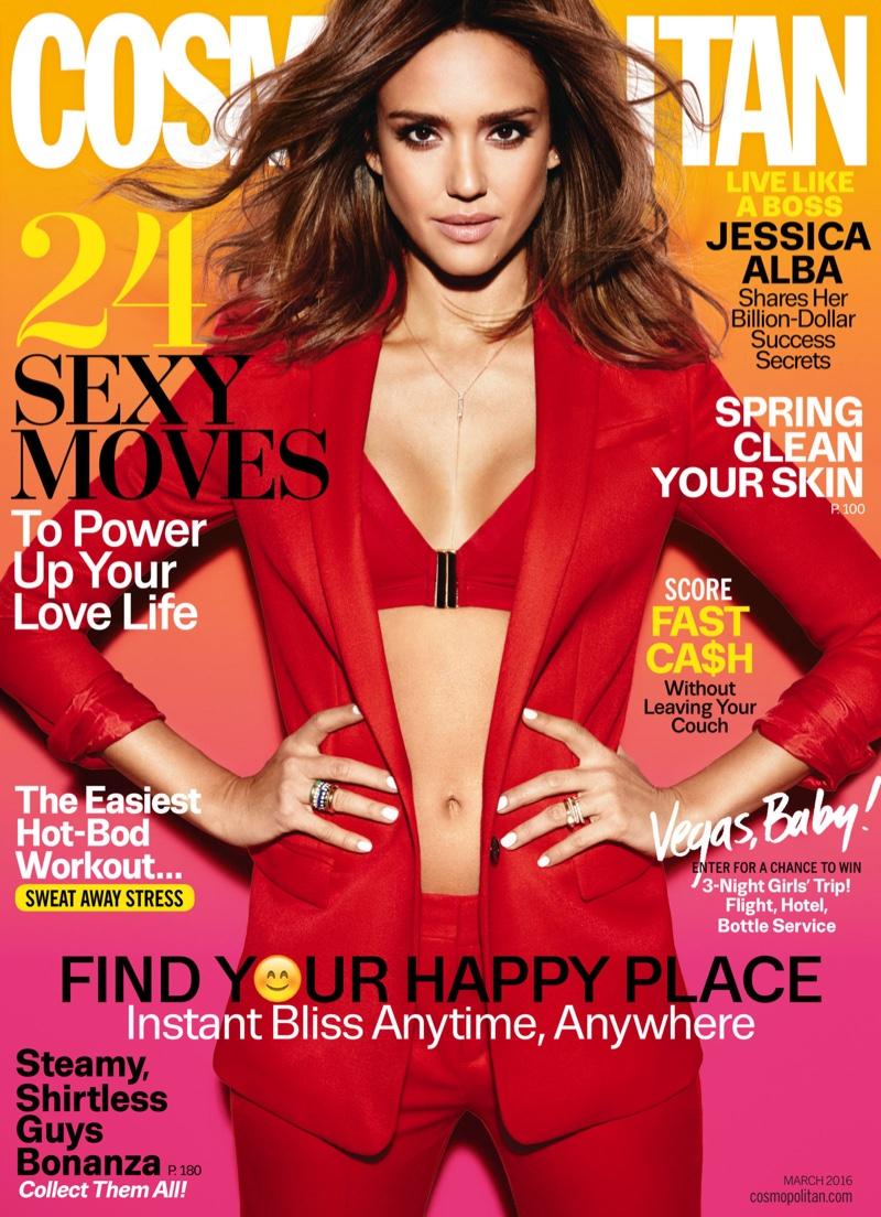 Jessica Alba on Cosmopolitan Magazine March 2016 cover