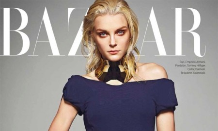 Jessica Stam cuts a striking figure in Emporio Armani top and Tommy Hilfiger trousers