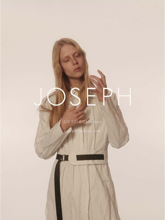Sofie poses in belted coat from Joseph's spring 2016 collection
