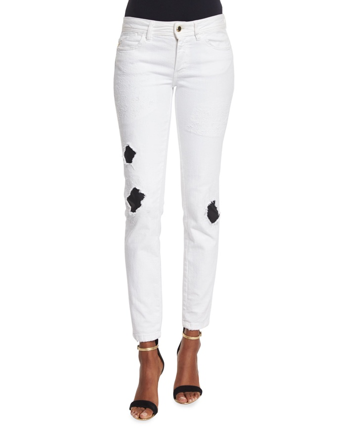 Just Cavalli Ripped Repaired Skinny Jeans