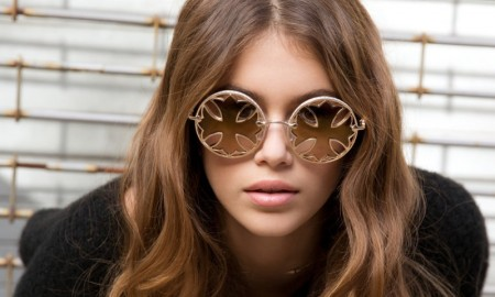 Kaia Gerber models round sunglasses fro Chrome Hearts' spring 2016 campaign