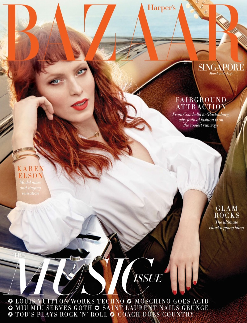 Karen Elson on Harper's Bazaar Singapore March 2016 cover