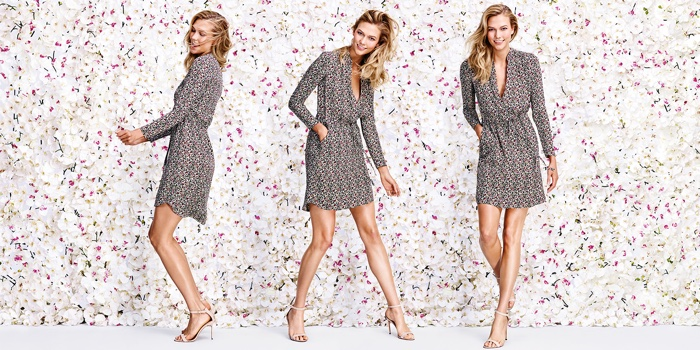 Karlie Kloss models a faux wrap dress from Joe Fresh's spring 2016 collection