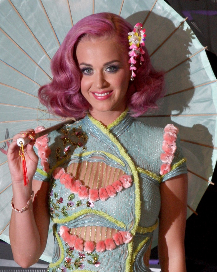 Katy Perry channeled the 1940s with a short and wavy pink hairstyle at the 2011 MTV Music Video Awards. Photo: Helga Esteb / Shutterstock.com