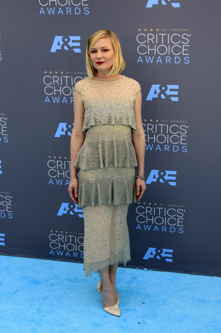 JANUARY 2016: Kirsten Dunst attends the 2016 Critics Choice Awards wearing a Chanel Haute Couture dress. Photo: Helga Esteb / Shutterstock.com