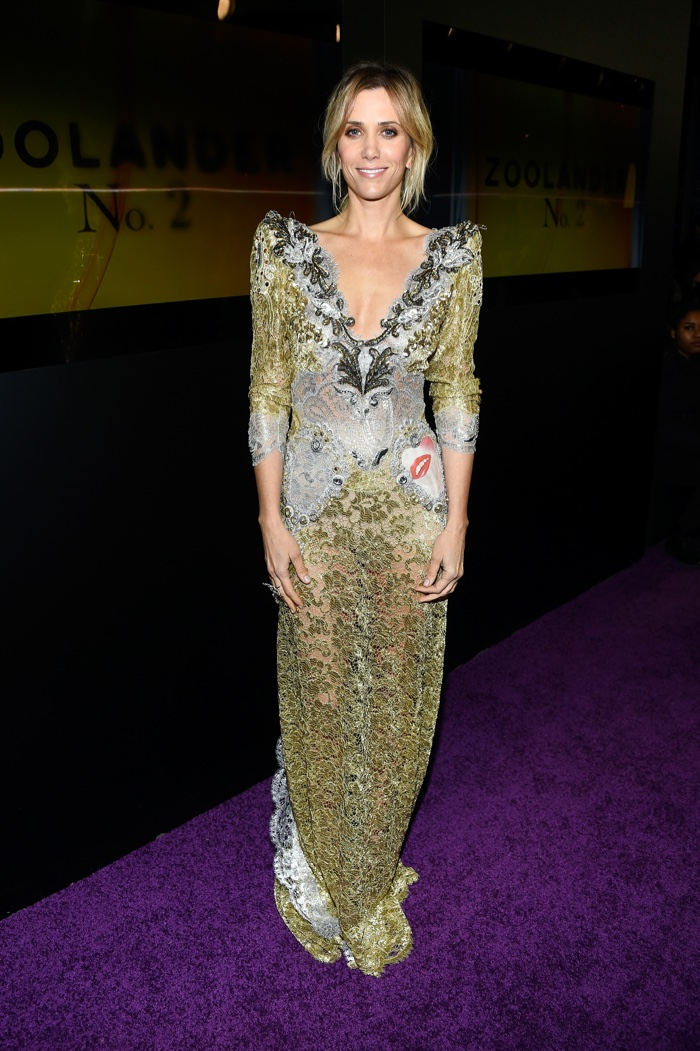 Kristen Wiig wears gold Marc Jacobs dress at the Zoolander 2 New York premiere
