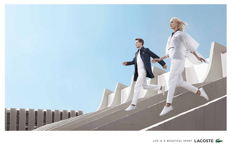 Aymeline Valade and George Barnett star in Lacoste's spring-summer 2016 campaign