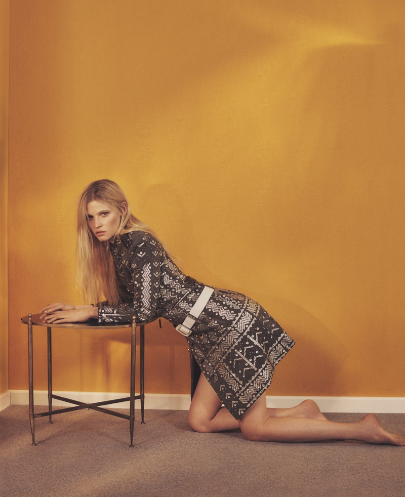Lara Stone wears looks from Louis Vuitton's spring 2016 collection in the spread
