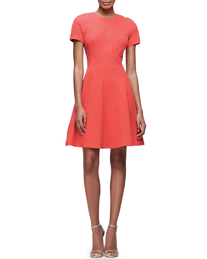 Lela Rose Short Sleeve Matelasse Fit & Flare Dress
