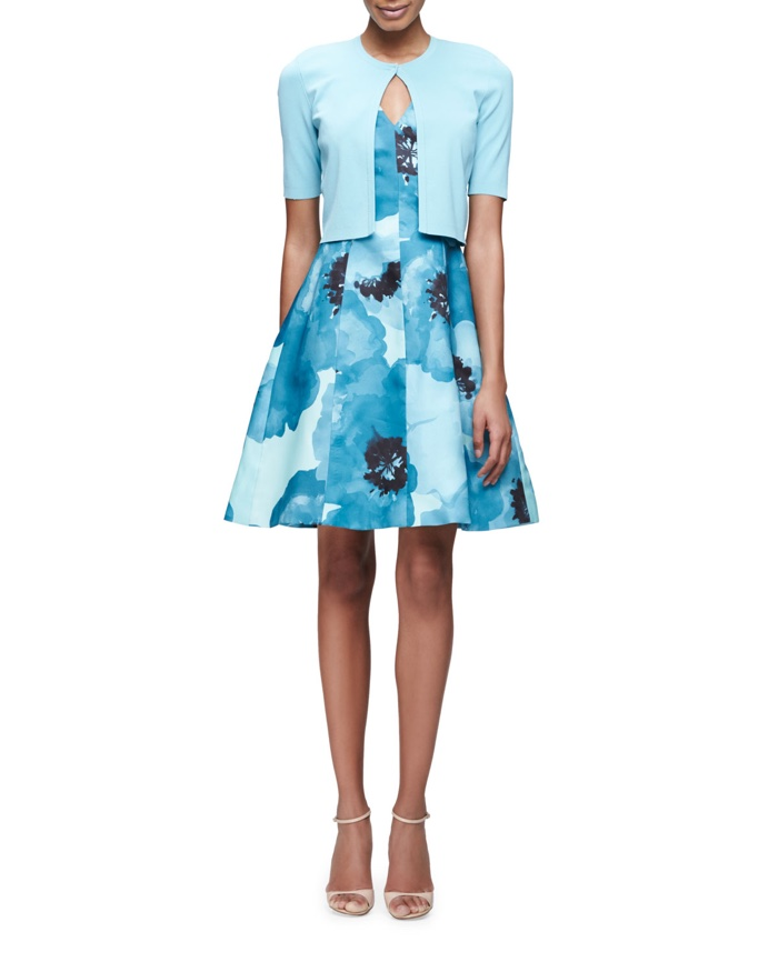 Lela Rose Short Sleeve Open Cardigan & Blue Floral Print Dress
