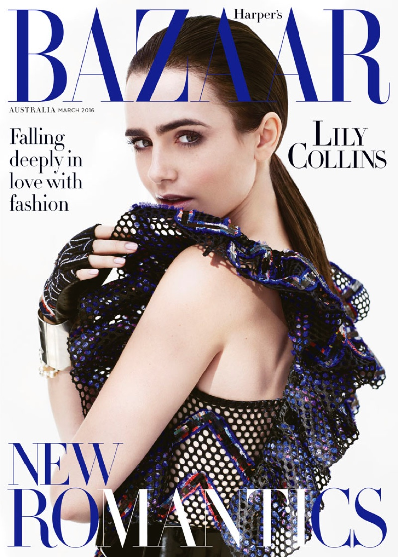 Lily Collins on Harper's Bazaar Australia March 2016 cover