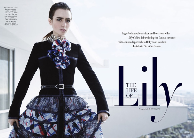 Lily Collins poses for David Roemer in the fashion spread
